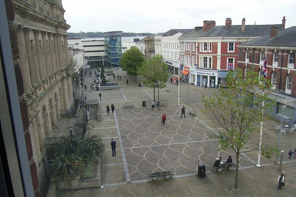 View of Blackburn pedestrian area from Safe Reiki room