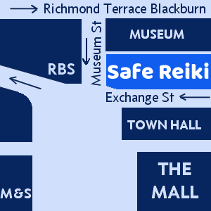 Safe Reiki is between Blackburn Town Hall and the Museum